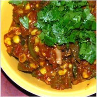 Corn, Mushroom And Green Pepper Subzi