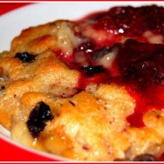 Warm Bread Pudding Topped With Strawberry Compote