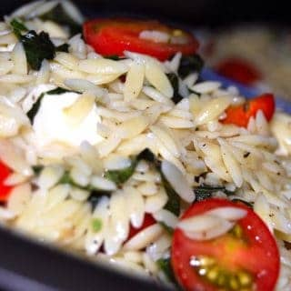 Orzo with basil and cherry tomatoes