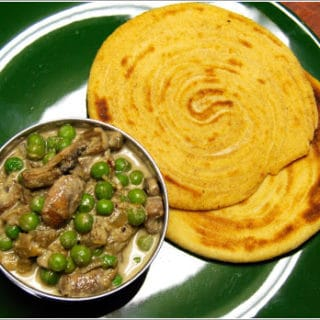 South Indian Parottas With Mushroom And Peas Korma