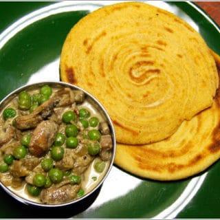 South Indian Parottas With Mushroom And Peas Korma