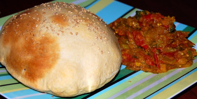 Whole-wheat Naan and Baingan Bharta, North Indian style