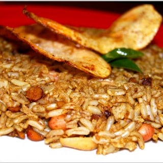 Brown Rice Puliyodarai With Homemade Potato Chips