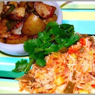 Mexican Rice and Chili-Garlic Potatoes