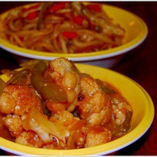 Gobi Manchurian (low-fat) And Stir-Fried Noodles