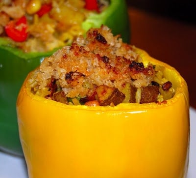 Brown-Rice Stuffed Bell Peppers