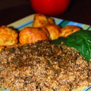 Bulghur Pilaf with Basil Pistou and Baked Cauliflower Bhujias