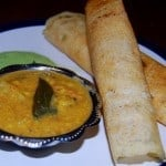 Dosa with Mixed-Vegetable Kuzhambu and Coconut-Coriander Chutney