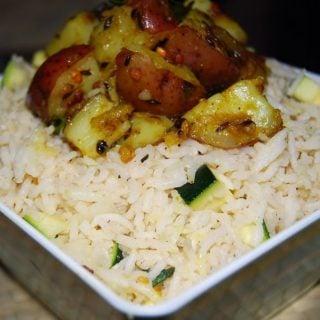 Rice Salad with Warm Potato Subzi