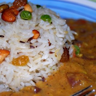 Vegan Dal Makhani with Raisin and Nut Pilaf