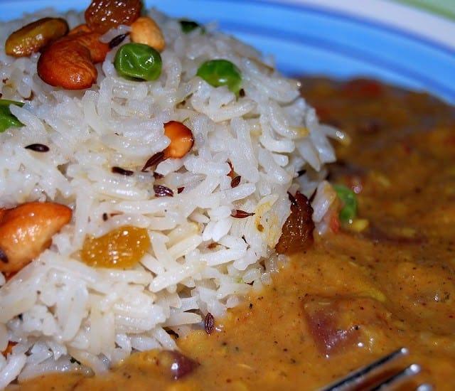 Vegan Dal Makhani with Raisin and Nut Pilaf