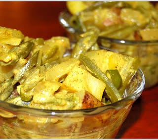 Green Beans and Potato Curry with Trinidadian Spices