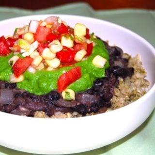 Fat-Free Burrito Bowl: Cilantro Brown Rice, 'Refried' Black Beans, No-Avocado Guacamole, and Tomato-Corn Salsa