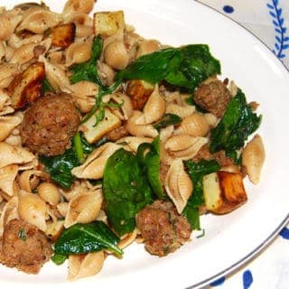 Conchiglie With Potatoes, Meatballs and Spinach