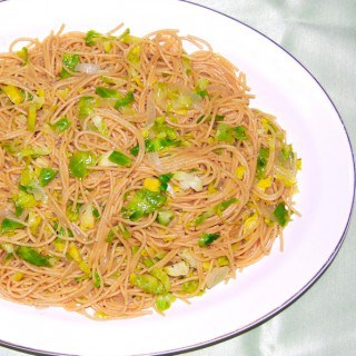 Spaghetti with Brussels Sprouts and Onions