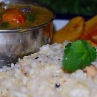 Vegan Venn Pongal with Eggplant-Green-Pepper Gotsu