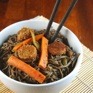 Stir-Fried Black Bean Noodles in Orange Sauce