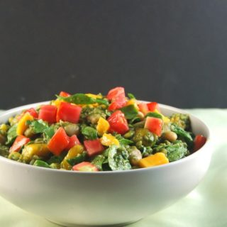 Bean Bulgur Salad With Pesto, Fat-Free