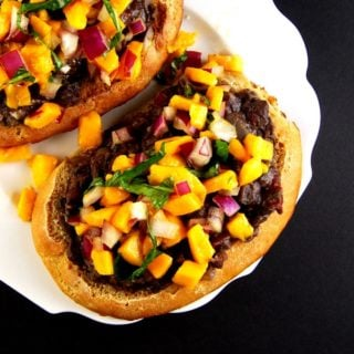 Mexican Molletes with Mango-Basil Salsa