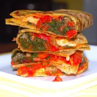 Avocado Quesadillas With Rainbow Chard And Tomato Chutney