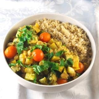 Tofu Curry with Chickpeas and Summer Vegetables