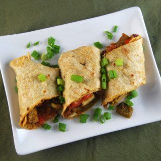 Vegan Kati Roll, tofu and veggies in a flaky whole-wheat wrap