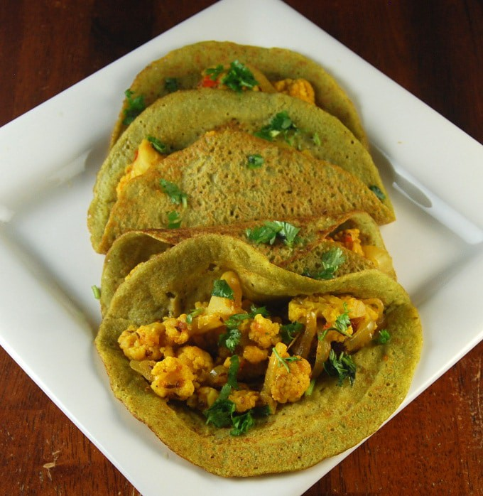 Sprouted Beans and Brown Rice Dosa. http://holycowvegan.net/2014/09/sprouted-bean-brown-rice-dosa.html