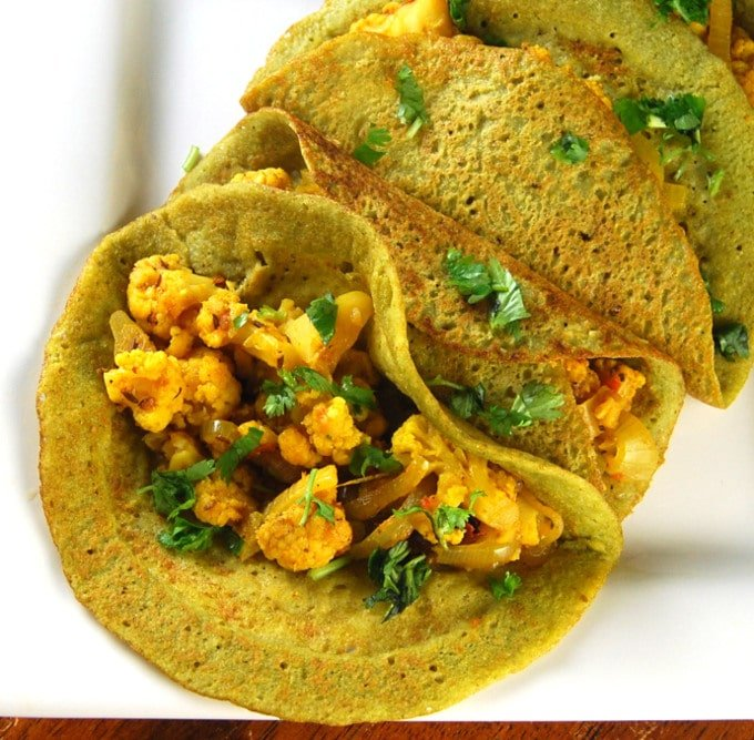 Sprouted Beans and Brown Rice Dosa
