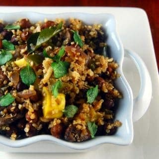 Kala Chana Quinoa Sundal, a salad of chickpeas and quinoa packed with veggies
