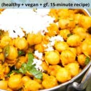 """Close-up image of sundial with text that reads """"chana sundal, South Indian stir-fried chickpeas, healthy, vegan, gf, 15 minute recipe"""""""