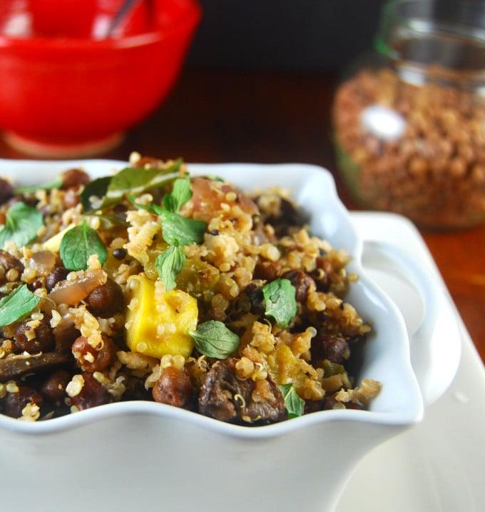 Kala chana quinoa sundal, a salad of chickpeas and quinoa packed with veggies