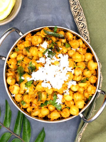 Overhead photo of chickpeas stir-fry or chana sundal
