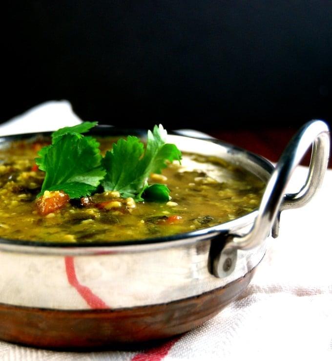 Amaranth Dal in a karahi bowl
