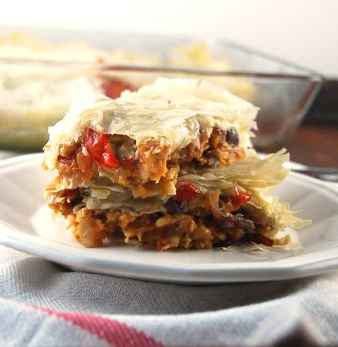 High Protein Filo Lasagna with Seitan and Roasted Veggies