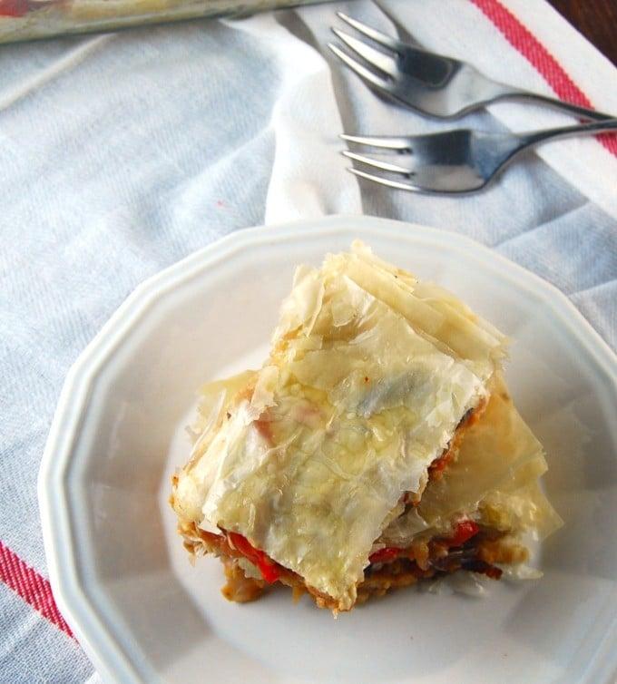 High Protein Filo Lasagna with Seitan and Roasted Veggies