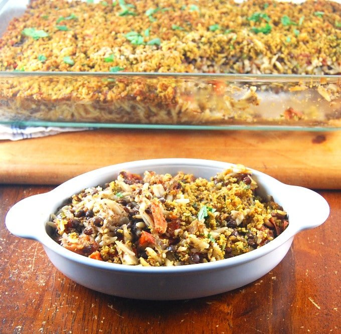 Lentil-Orzo Bake served in an oval dish.