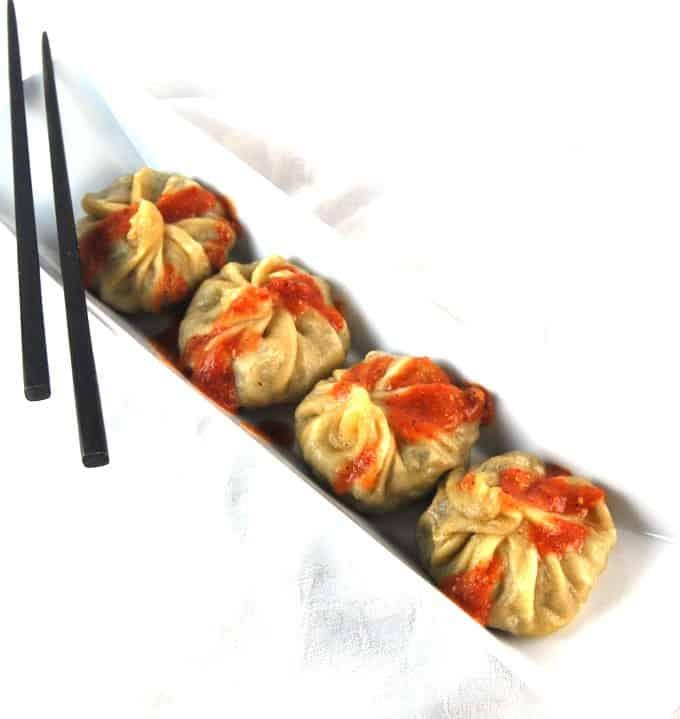 Vegan Tibetan Momos, dumplings stuffed with stir-fry veggies