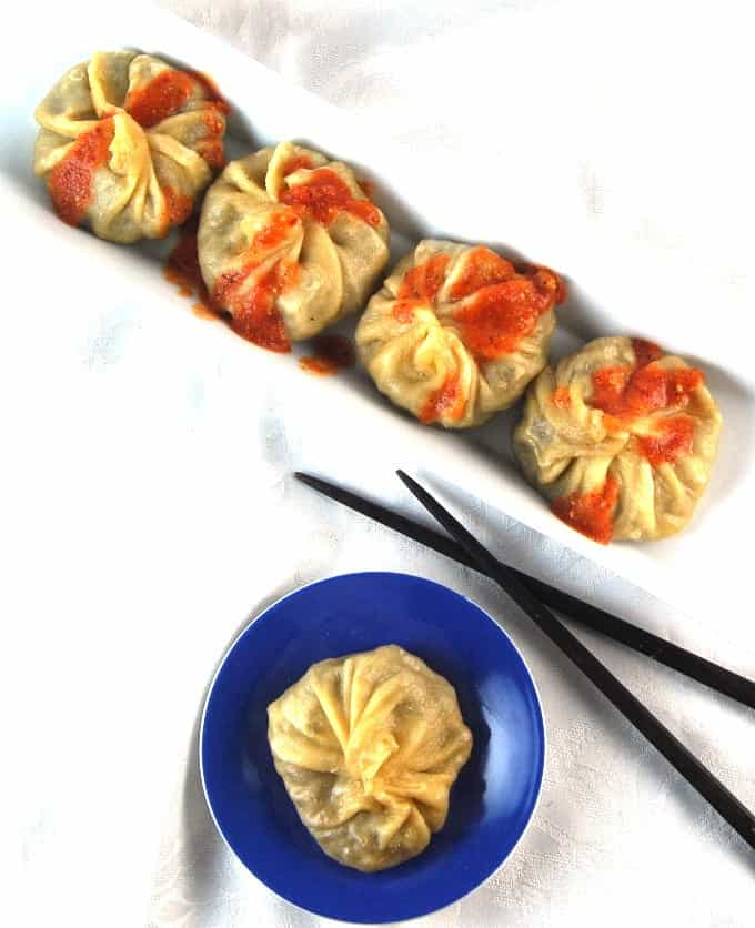 Vegan Tibetan Momos, dumplings stuffed with stir-fry veggies