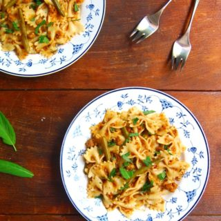 Bowtie Pasta in a Light Bolognese Sauce