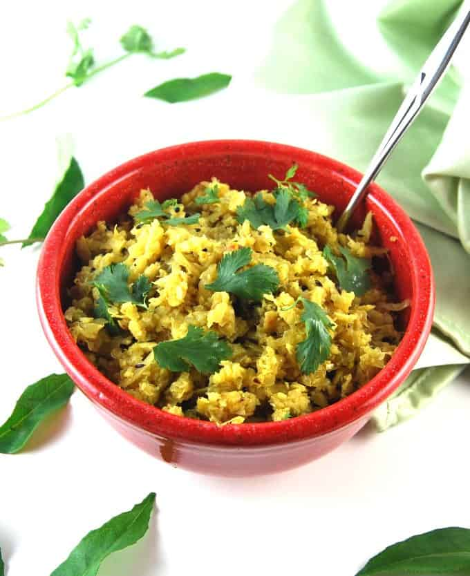 Cabbage Thoran, a Kerala-style side of cabbage with coconuts and a few simple spices