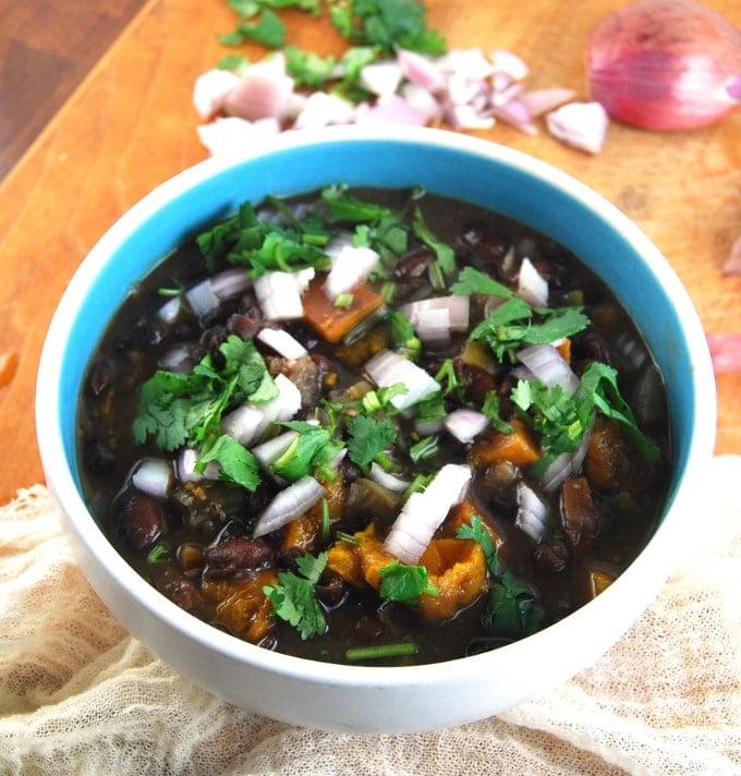 Photo of oil-free, vegan Cuban Black Bean Stew