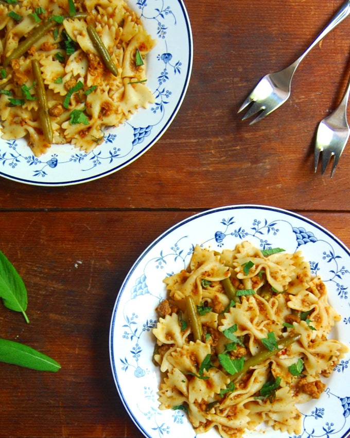 Bowtie Pasta in a light, meaty, vegan bolognese sauce