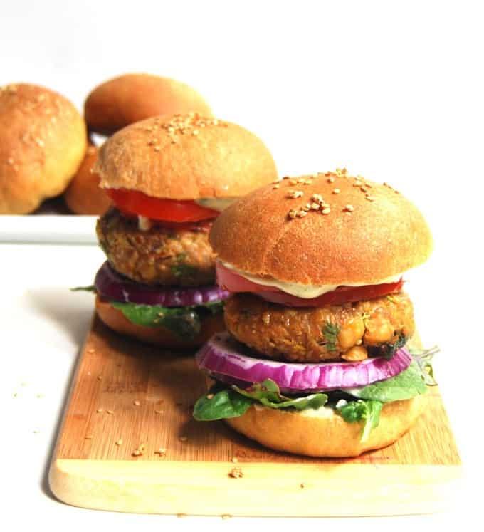 Chana Masala Veggie Burger - holycowvegan.net