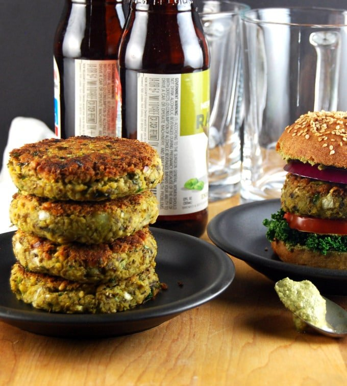Photo of stacked Sprouted Mung Bean Burgers