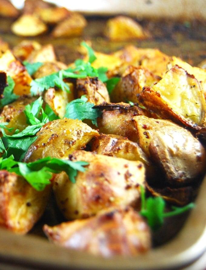 Closeup of Golden Roasted Curry Mustard Potatoes