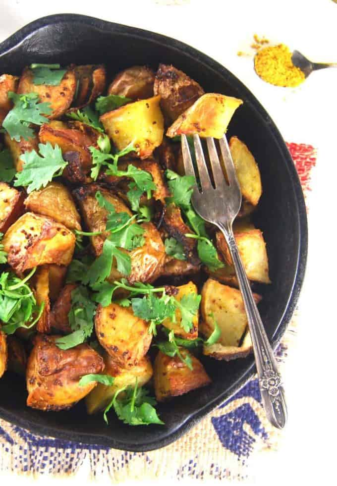 Golden roasted curry mustard potatoes holy cow vegan recipes golden roasted curry mustard potatoes forumfinder Choice Image