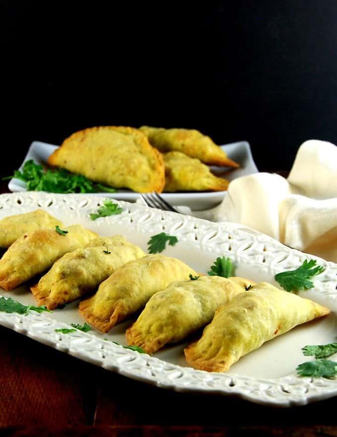 Baked Keema Samosas, vegan meat pies, Indian-style. #vegan