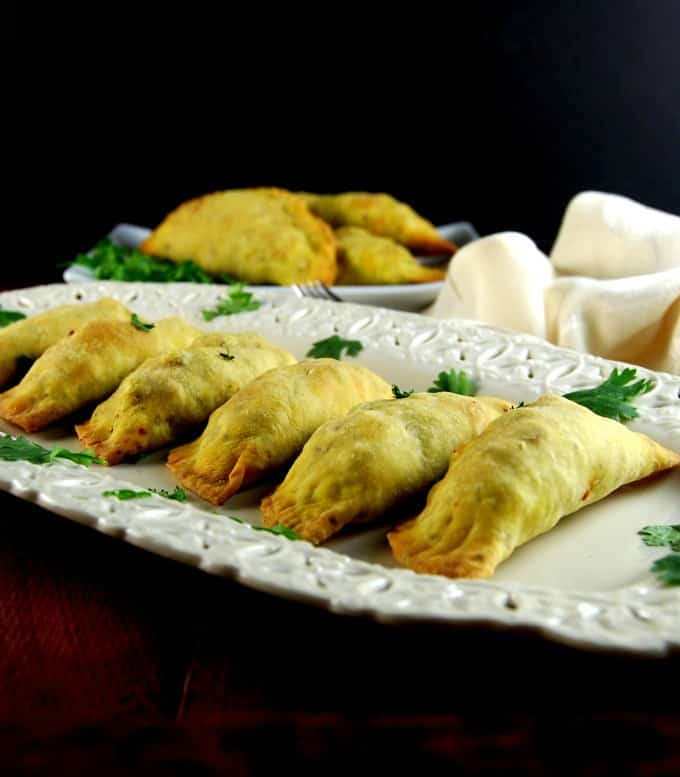 Baked Keema Samosas, vegan meat pies, Indian-style. #vegan