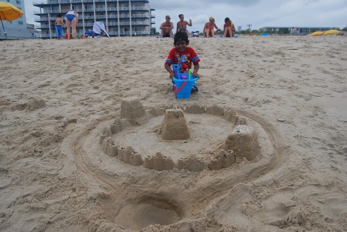 Jay building a sand castle in Ocean City Maryland