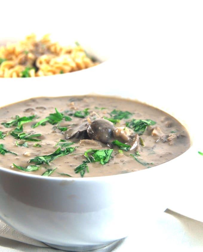 Mushroom Ragout in bowl closeup.